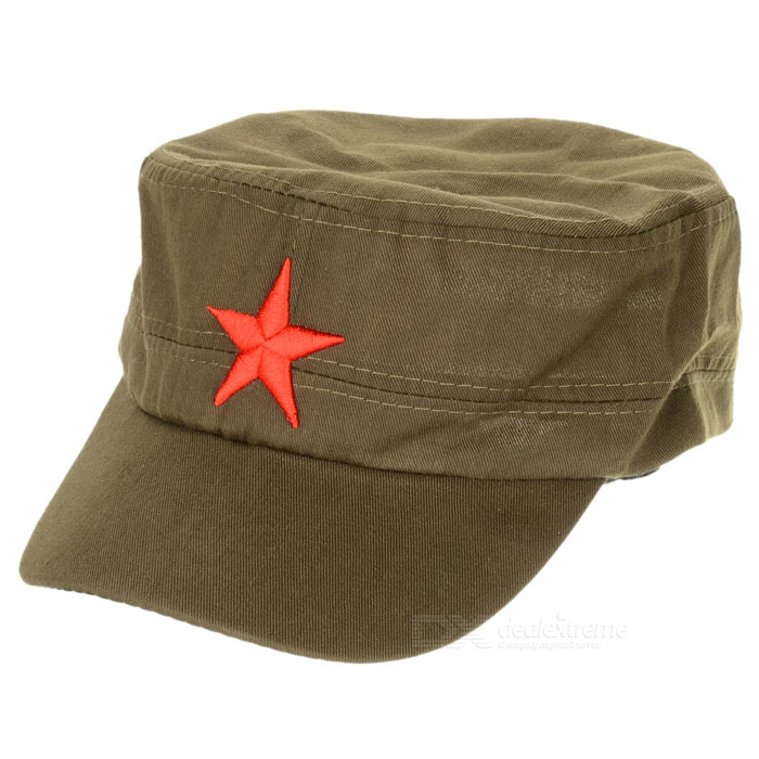 Red Star Pattern Flat Top Cotton Fabric Cap Hat - Army Green military hat flat cap m177