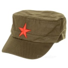 Red Star Pattern Flat Top Cotton Fabric Cap Hat - Army Green