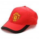 Water Resistant Football/Soccer Team Emblem Nylon Cap Hat - Man Utd (Red + Black)