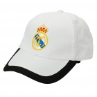 Water Resistant Football/Soccer Team Emblem Nylon Cap Hat - Real Madrid (White + Black)