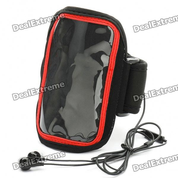 Sports Gym Arm Band Case + 3.5mm Earphone w/ Microphone for Samsung i9100 Galaxy S2 - Black + Red