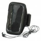 Sports Gym Arm Band Case + 3.5mm Earphone w/ Microphone for Samsung i9100 Galaxy S2 - Black