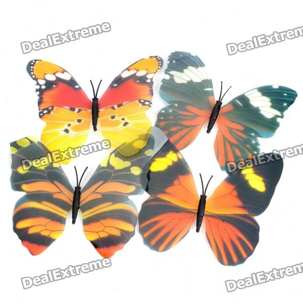 Beautiful Noctilucent Decoration Plastic Butterfly (4-Piece Pack)