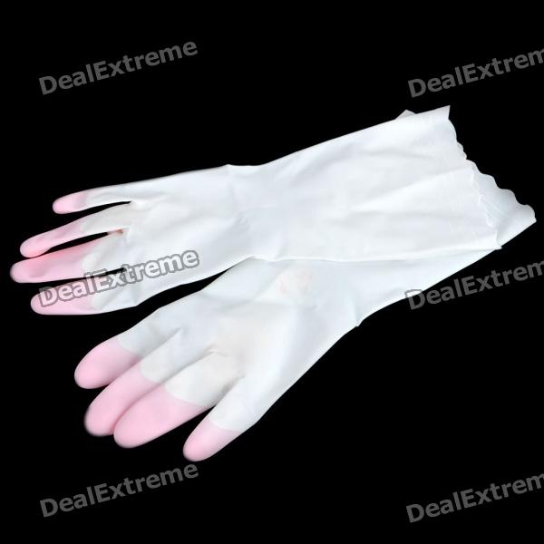 Unisex Slim Household Washing Clean PVC Glove - Pink + White (Size M / Pair)