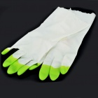 Unisex Slim Household Washing Clean PVC Glove - Green + White (Size L / Pair)