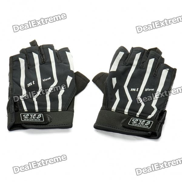 Outdoor Sports Bicycle Half-Finger Gloves - Black (L Size / Pair)