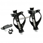 Metal Bike Bicycle Saddle Rail Dual Water Bottle Holder Bracket Kit - Black + Silver