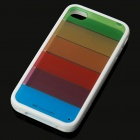 Colorful Transparent Strips PVC Protective Back Case w/ Screen Protector for Iphone 4 - White