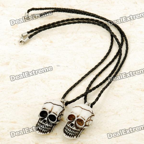 Skeleton Head Cattle Bone Necklaces (Pair)