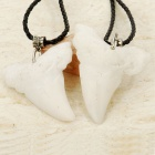 Shark Tooth Shaped Cattle Bone Necklaces (Pair)