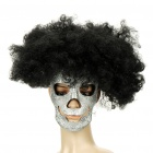 Curly Hairpiece Mask Set Halloween Costume - Black + Silver