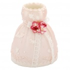 Lovely Resin Wedding Dress Style Pen Holder Container - Pink