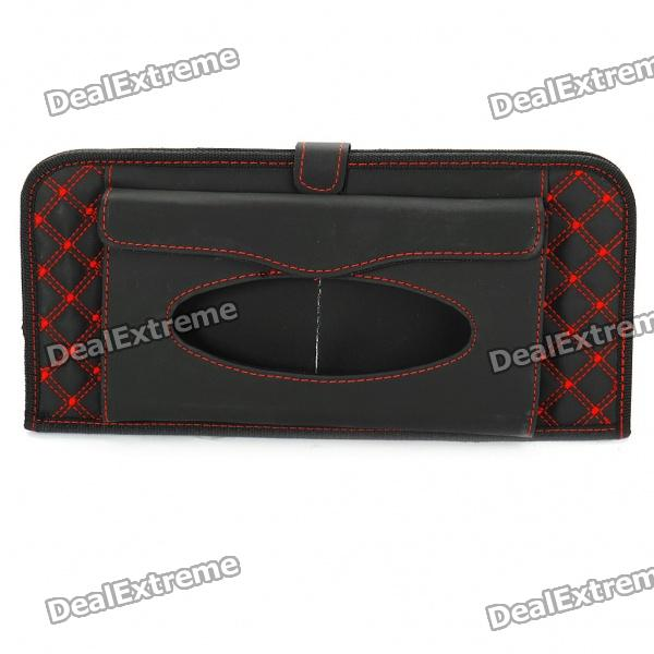 Double-Deck Auto Car Sunshade Board with CD Storage Slots/Tissue Bag - Black + Red (Holds-12CD)