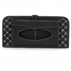 Double-Deck Auto Car Sunshade Board with CD Storage Slots/Tissue Bag - Black + White (Holds-12CD)