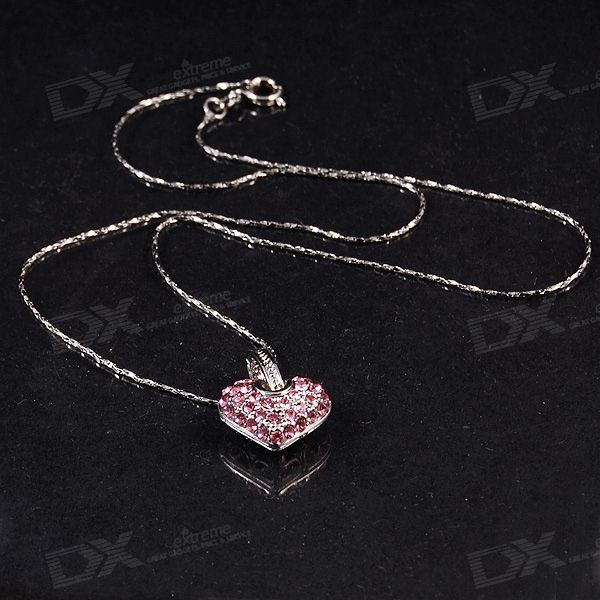 Crystal Heart Necklace in Gift Box (18KRGP)