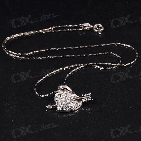 Crystal Arrow-in-Heart Necklace in Gift Box (18KRGP)