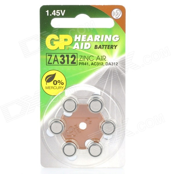 GP PR41/ZA312 Zinc Air 1.4V Batteries for Hearing Aid (6-Battery)