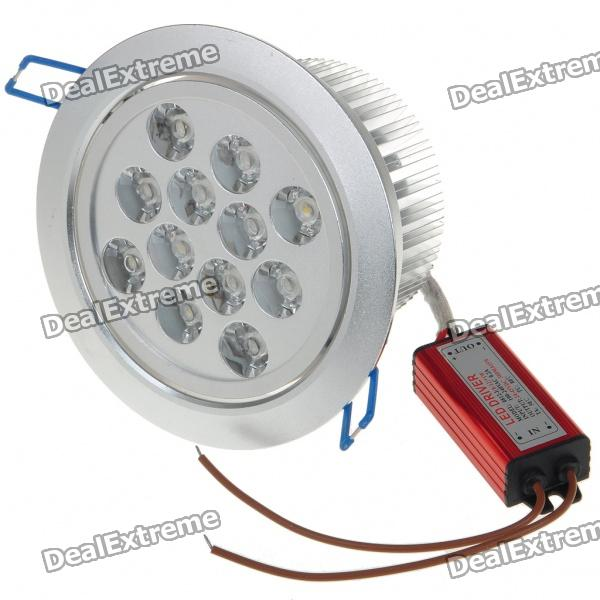 12W 12-LED 1000-Lumen 3500K Warm White Ceiling Lamp/Down Light with LED Driver (AC 85~245V) 1w 100 lumen 3500k warm white led ceiling lamp down light with led driver ac 85 265v