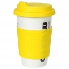 ECO Ceramic Cup with Cover + Straw - Jazz Drum Image Pattern (330ml)