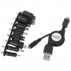 USB to Micro USB Data Cable + 8-in-1 Cell Phone Charging Adapters