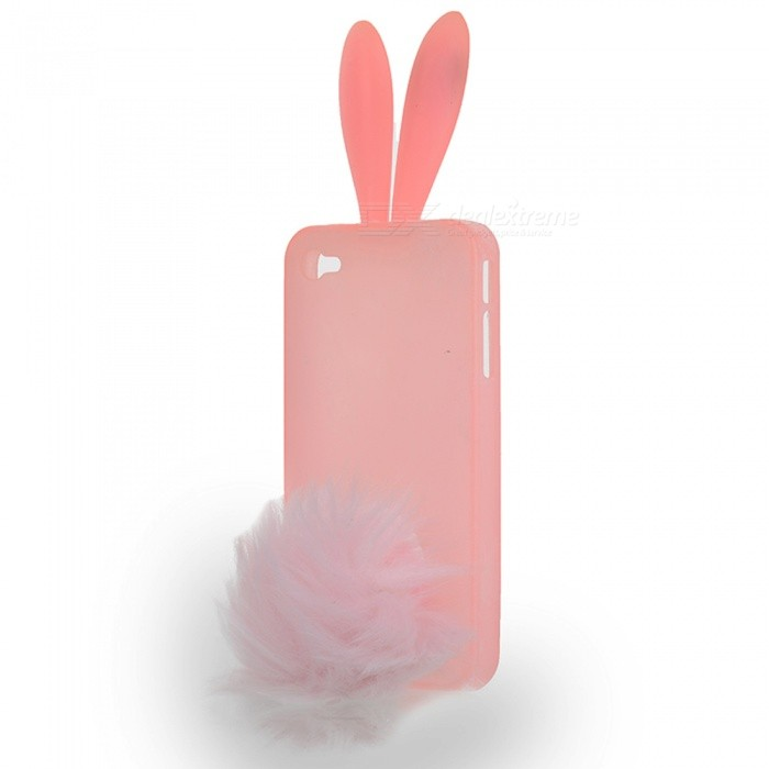 Cute Silicone Rabbit Ear Protective Case with Bushy Tail Holder for Iphone 4 (Red) cute rabbit silicone soft case