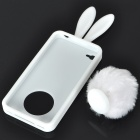 Cute Silicone Rabbit Ear Protective Case with Bushy Tail Holder for Iphone 4 (White)