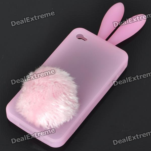 Cute Silicone Rabbit Ear Protective Case with Bushy Tail Holder for Iphone 4 (Pink)