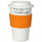 UC Ceramic Cup with Cover - I'm not a paper cup (Orange / 400ml)