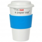 UC Ceramic Cup with Cover - I'm not a paper cup (Blue / 400ml)