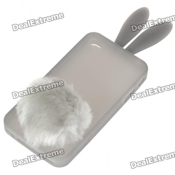 Cute Silicone Rabbit Ear Protective Case with Bushy Tail Holder for Iphone 4 (Grey) trousselier музыкальная шкатулка little grey rabbit© rabbit trousselier grey pink