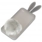 Cute Silicone Rabbit Ear Protective Case with Bushy Tail Holder for iPhone 4 (Grey)