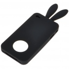 Cute Silicone Rabbit Ear Protective Case for Iphone 4 (Black)