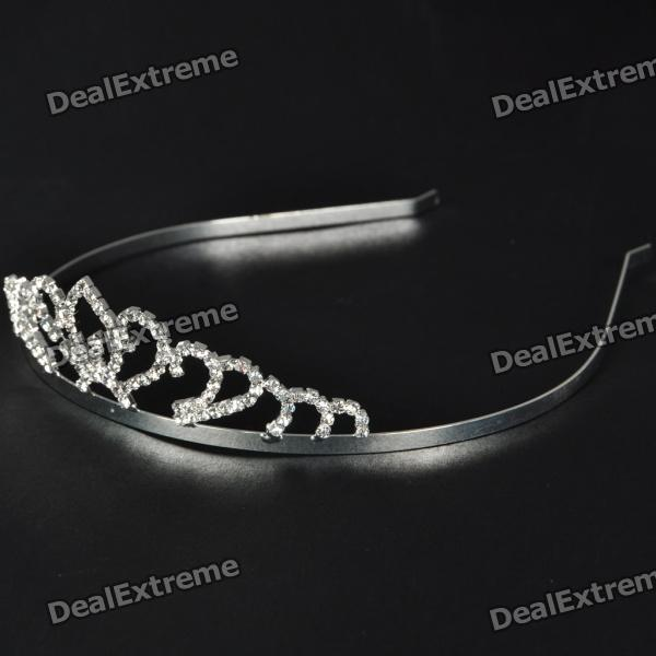 Stylish Crown Style Silver Plate Steel Crystal Headband
