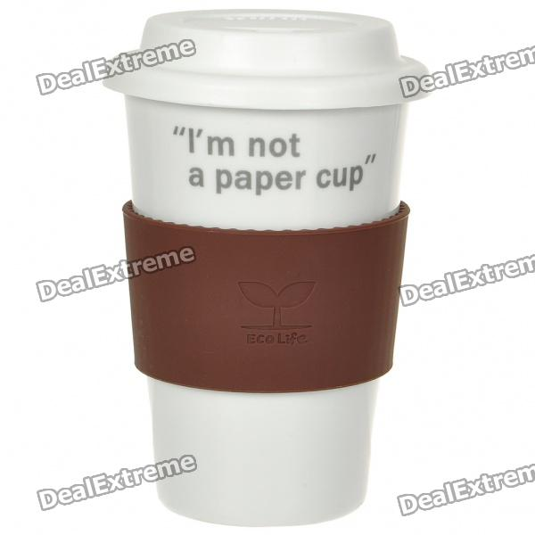 UC Ceramic Cup with Cover - I'm not a paper cup (Coffee / 400ml)