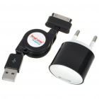 Mini AC Power Adapter w/ Retractable USB Data + Charging Cable for Samsung P1000 (110~240V/EU Plug)