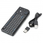 Portable Mini 2.4G Wireless Keyboard with USB Receiver + Trackball Mouse - Black