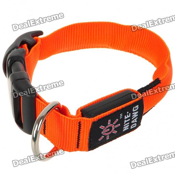 Nite Ize Light Up Red LED Light Dog Collar - Orange (1 x CR2032/Size-S)