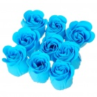 Romantic Bath Paper Soap Flower Rose Petals with Gift Box - Blue (9-Piece Pack)