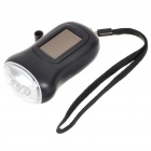 2-in-1 Hand Cranked Dynamo + Solar Powered Self-Recharge 3-LED Flashlight