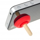 Cute Toilet-Plunger Shaped Silicone Stand Holder for Cell Phone - Red