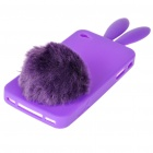 Cute Silicone Rabbit Ear Protective Case with Bushy Tail Holder for iPhone 4 (Purple)