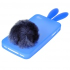 Cute Silicone Rabbit Ear Protective Case with Bushy Tail Holder for iPhone 4 (Blue)