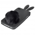 Cute Silicone Rabbit Ear Protective Case with Bushy Tail Holder for iPhone 4 (Black)