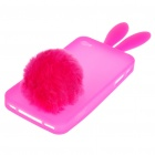 Cute Silicone Rabbit Ear Protective Case with Bushy Tail Holder for Iphone 4 (Peach Pink)