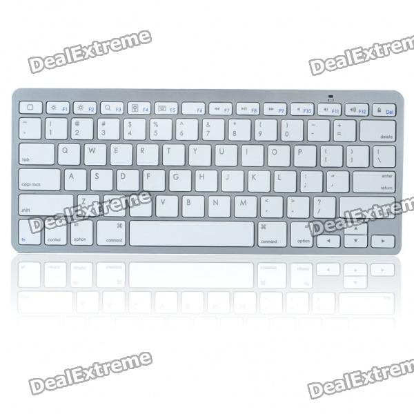 78-Key Slim Portable Bluetooth Wireless QWERTY Keyboard - White + Silver (2 x AAA)