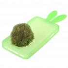 Cute Silicone Rabbit Ear Protective Case with Bushy Tail Holder for iPhone 4 (Green)