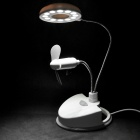 USB/3xAAA Powered Flexible Neck 12-LED Super Bright White Light Desktop Lamp with Cooling Fan