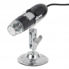 Portable USB 2.0 25X-200X CMOS Digital Microscope with 4-LED Illumination - Black