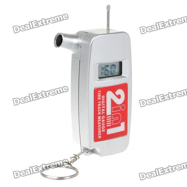 0.84 LCD 2-in-1 Digital Tire Pressure Gauge Tread Depth Measurer (1 x CR2032) mini car shaped 0 6 lcd digital tire pressure gauge keychain silver 1 cr2032