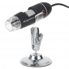 Portable USB 2.0 25X-400X CMOS Digital Microscope with 8-LED Illumination - Black
